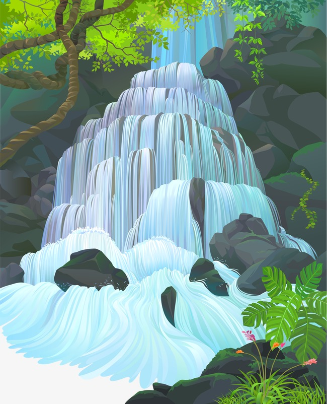 650x802 Waterfall, Vector, Beautiful Scenery Png And Vector For Free Download