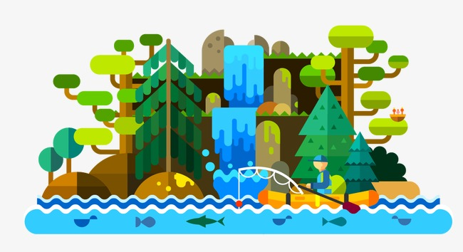 650x354 Flat View, Waterfall, Vector Tree Png And Vector For Free Download