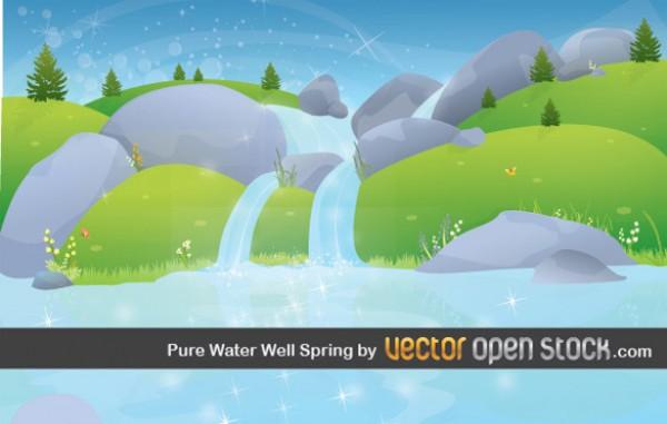 600x381 Fresh Mountain Waterfall Vector