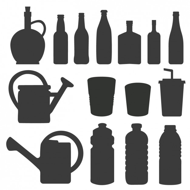 626x626 Silhouettes Of Bottles And Watering Can Vector Free Download