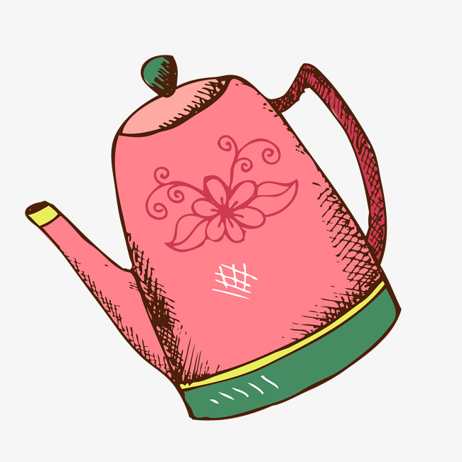 650x651 Stained Watering Can Vector, Painted Kettle, Painted Red Kettle