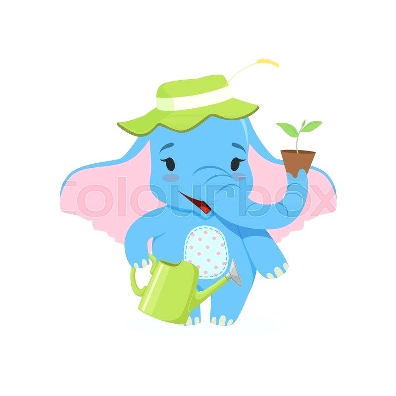 800x800 Cute Baby Elephant Gardener Funny Jungle Animal Character Standing