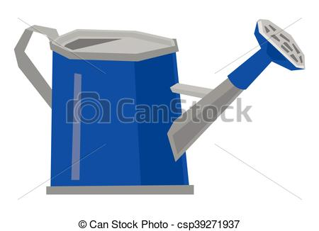 450x326 Watering Can Vector Illustration. Blue Watering Can Vector Flat