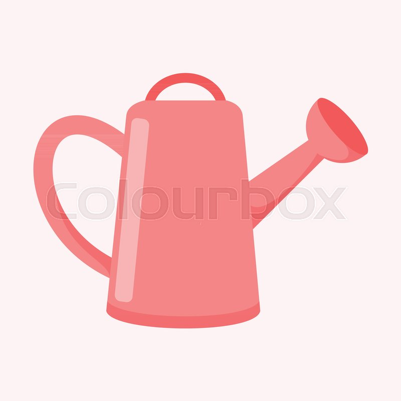 800x800 Cute Pink Watering Can Vector Illustration Graphic Design Stock