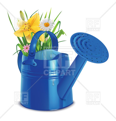 383x400 Watering Cans With Summer Bouquet Of Grasses, Lilies And Daisies