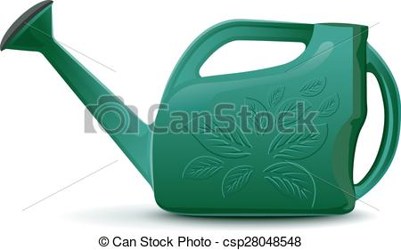 450x281 Green Plastic Garden Watering Can. Isolated Illustration In Vector