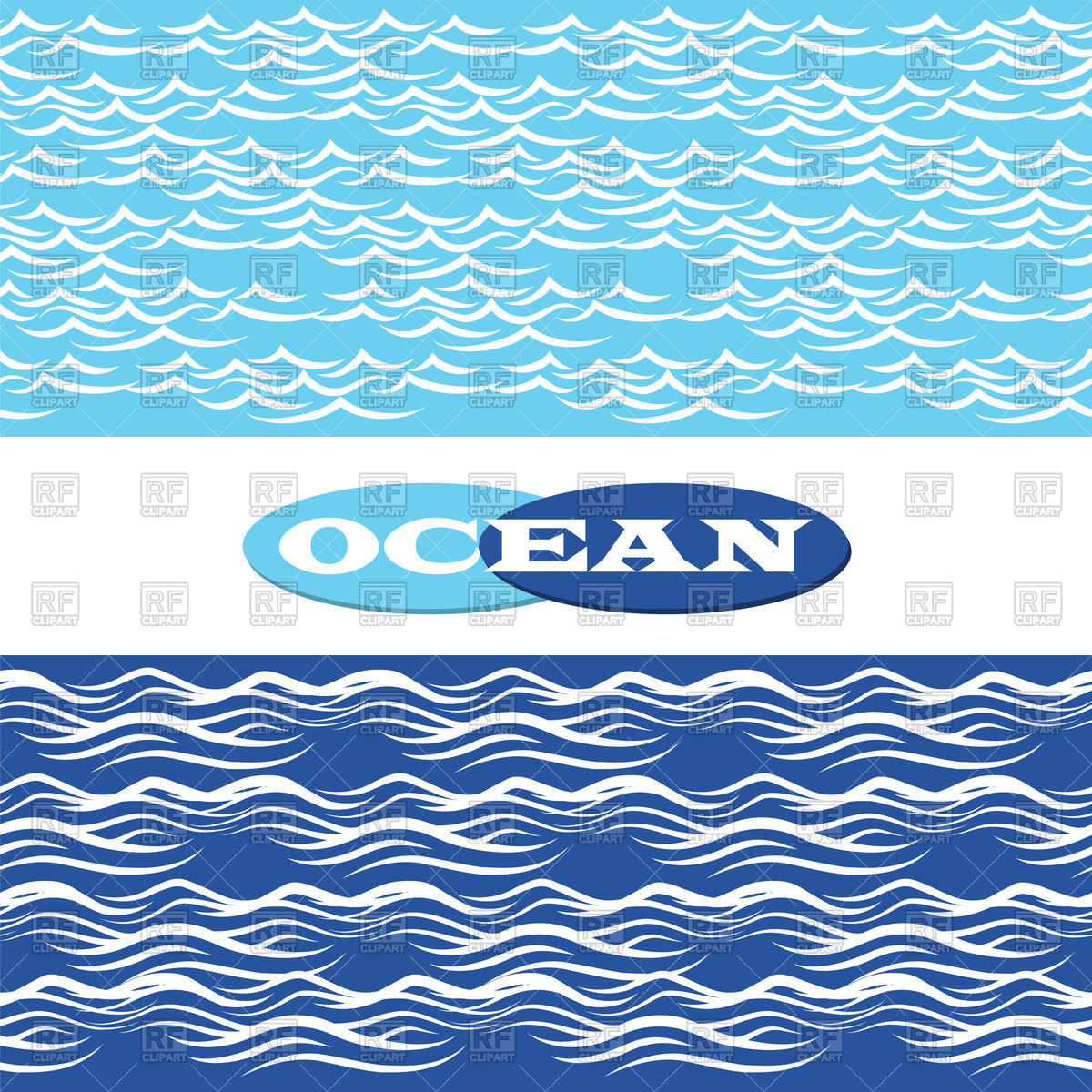 1200x1200 Hand Drawn Blue Ocean Waves Seamless Borders Vector Image Vector