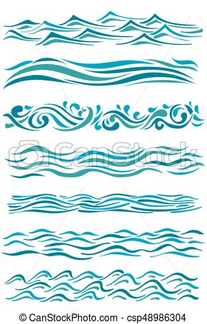 300x470 Set Of Wavy Borders. Hand Drawn Abstract Waves On White. Vector