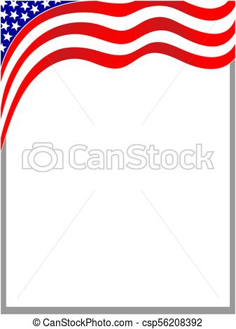 337x470 Usa Wave Flag Border. American Flag Wave Background Frame With