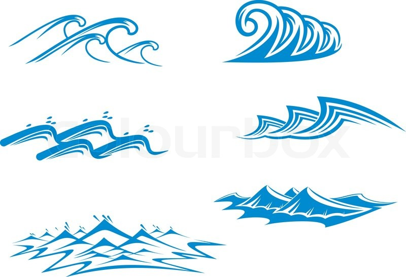 800x546 Set Of Wave Symbols For Design Isolated On White Stock Vector