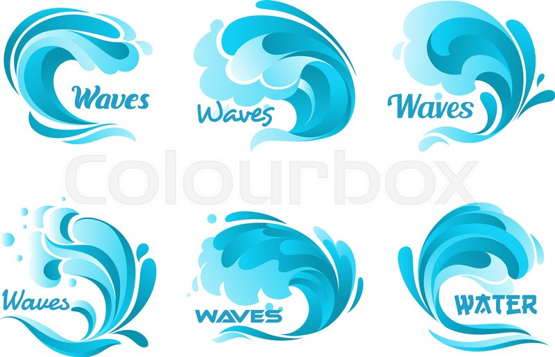 800x515 Water Waves Splash. Vector Ocean Wave Isolated Icons. Blue Water