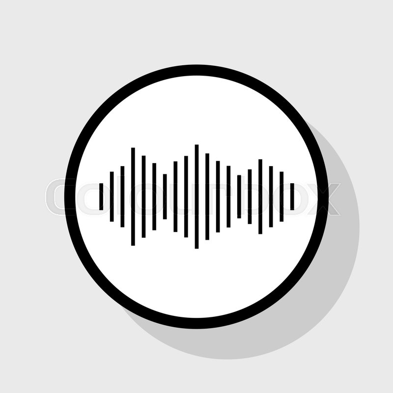 800x800 Sound Waves Icon. Vector. Flat Black Icon In White Circle With