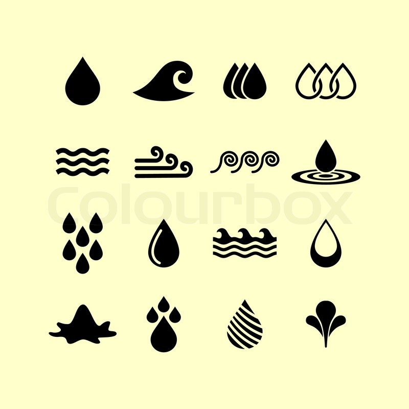 800x800 Drops Water Nature Wave Ocean Icon Set Stock Vector Colourbox