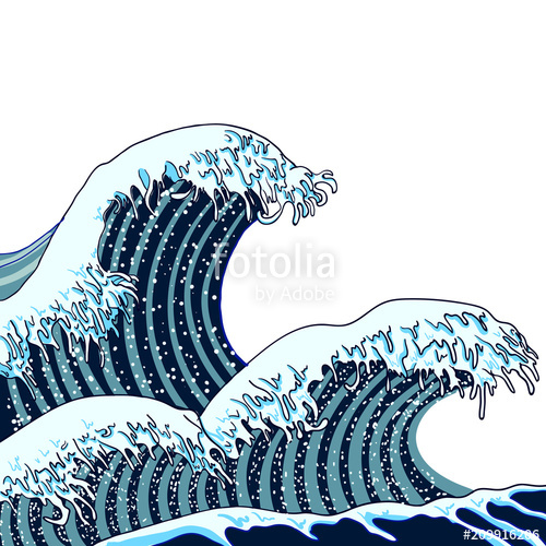 500x500 Vector Japanese Waves Illustration, Traditional Asian Art