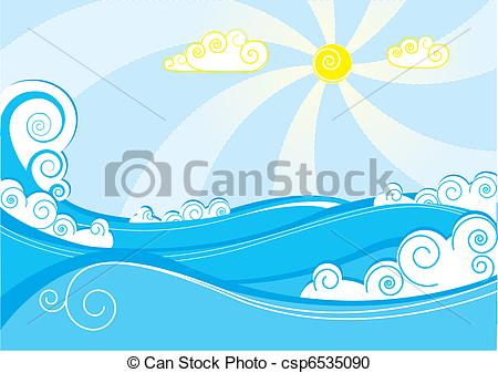 450x337 Abstract Sea Waves. Vector Illustration On Blue White.