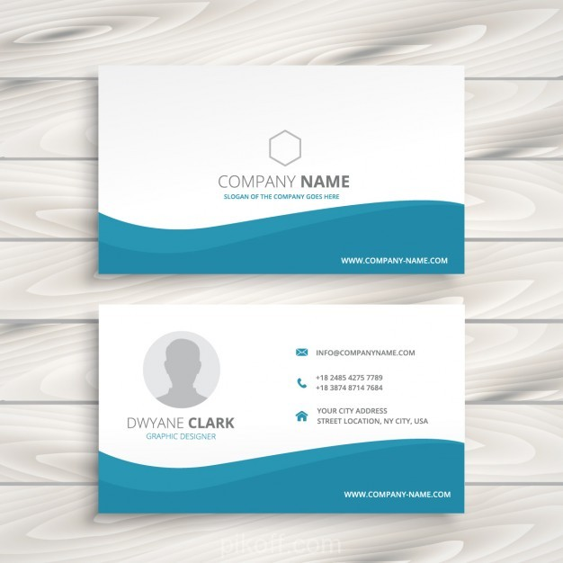 626x626 Ai] Business Card With Turquoise Wave Vector Free Download