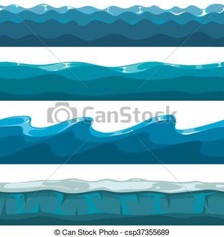 444x470 Cartoon Ocean, Sea, Water Waves Vector Seamless Patterns. Cartoon