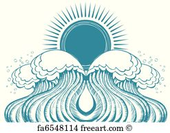 247x194 Free Art Print Of Sun And Sea Waves. Vector Black White Graphic