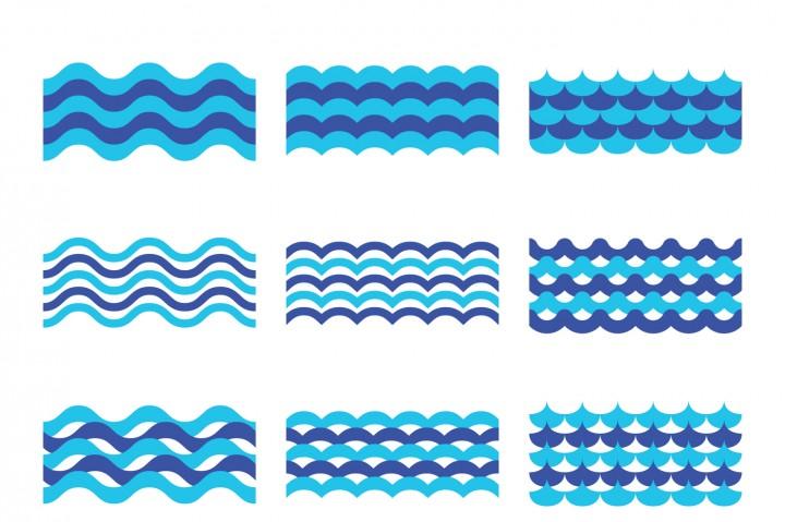 720x479 Marine, Sea, Ocean Waves Vector Set By Microvector