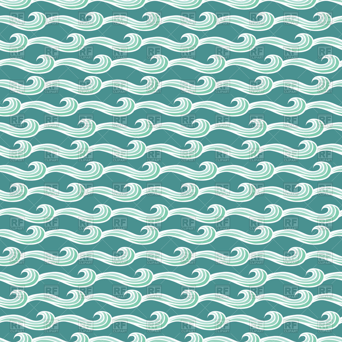 1200x1200 Seamless Illustrated Pattern Of Waves Vector Image Vector