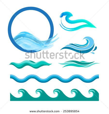 450x470 Set Of Blue Ocean Waves. Vector Logo Elements. Sea Water Icons