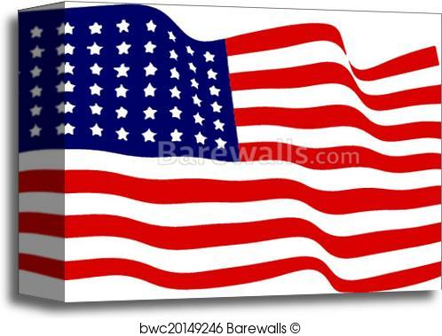 498x379 Canvas Print Of Waving American Flag Vector Barewalls Posters