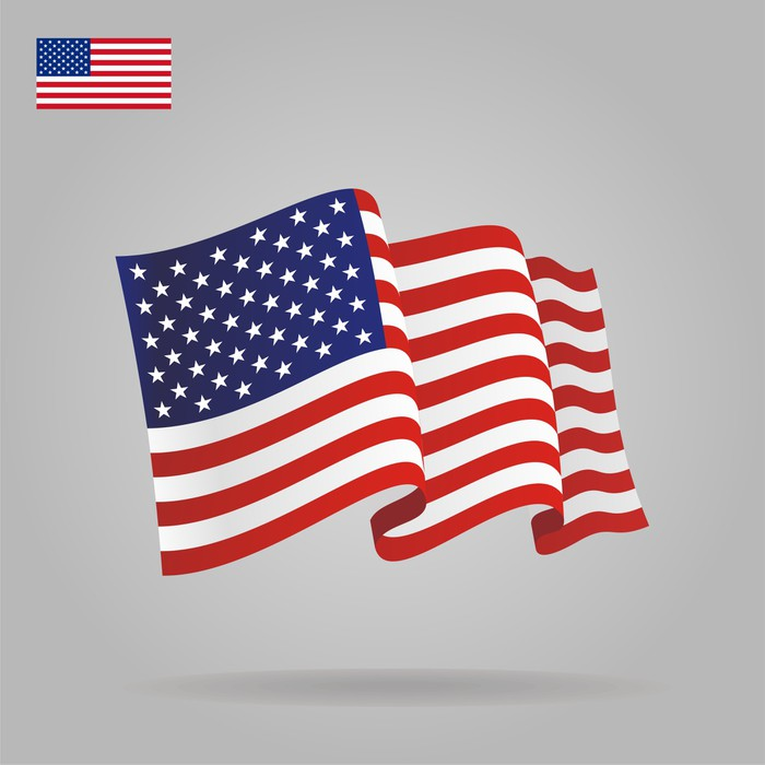 700x700 Flat And Waving American Flag. Vector Wall Mural We