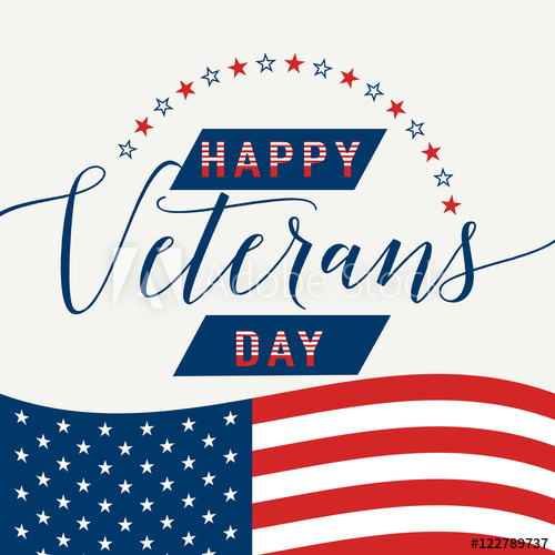 500x500 Happy Veterans Day With Waving American Flag Vector Illustration