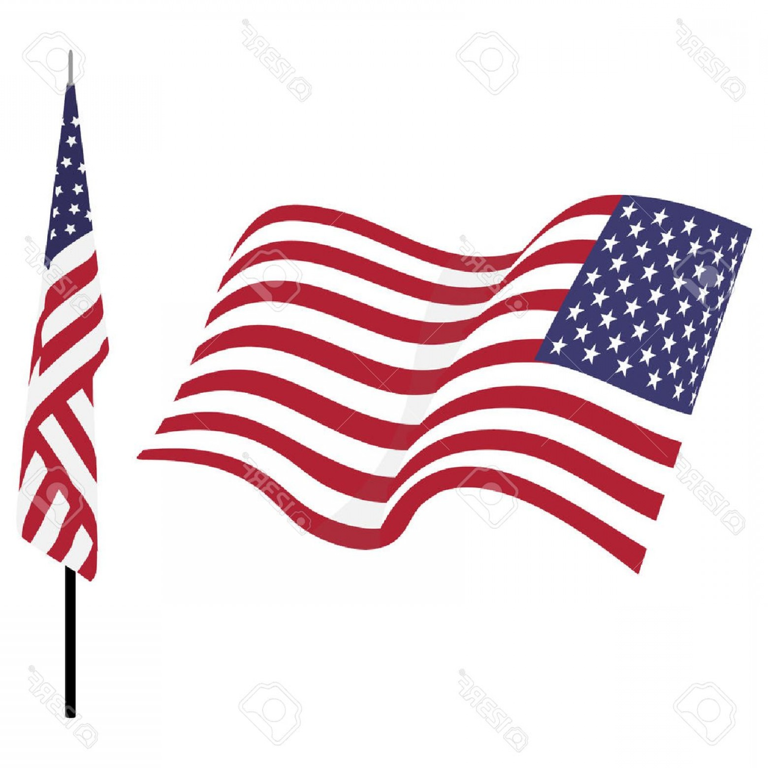 1560x1560 Photostock Vector Waving American Flag And Flag On Stand Usa Flag