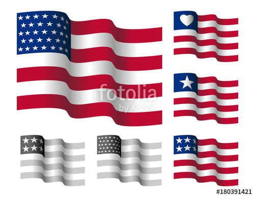500x387 Waving Stars And Straps American Flag. Vector Illustration Of