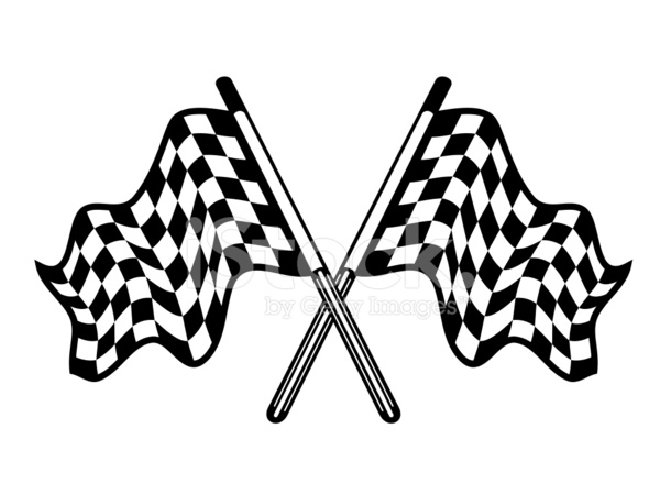 600x439 Crossed Pair Of Waving Checkered Flags Stock Vector