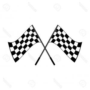 300x300 Photostock Vector Crossed Waving Black And White Checkered Flags