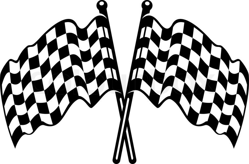 800x528 Two Crossed Black And White Checkered Flags With The Fabric Waving