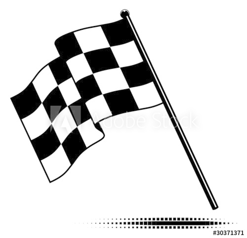 500x482 Vector Checkered Flag Waving Below The Pole. No Gradients.