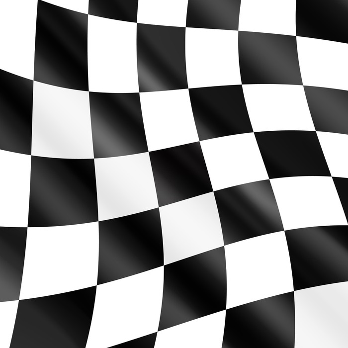 700x700 Waving Checkered Racing Flag, Vector Poster We Live To