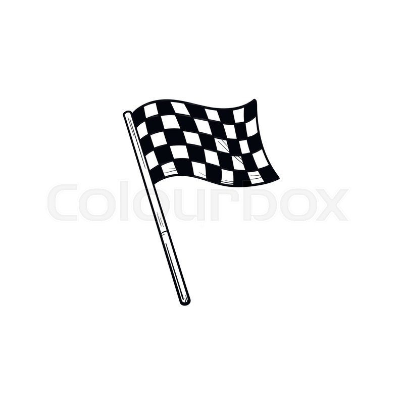 800x800 Waving Racing Checkered Flag Hand Drawn Outline Doodle Icon