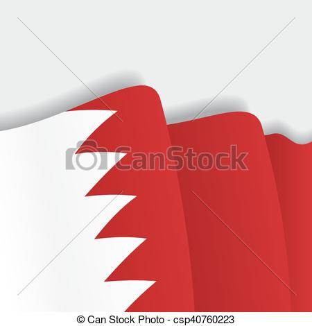 450x470 Bahrain Waving Flag. Vector Illustration. Bahrain Waving Flag