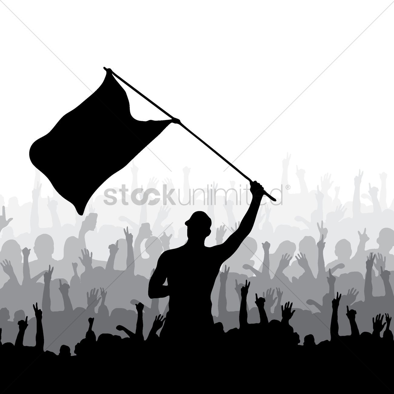 1300x1300 Man Waving Flag And Crowd Cheering Vector Image