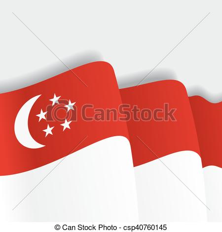 450x470 Singapore Waving Flag. Vector Illustration. Singapore Waving Flag