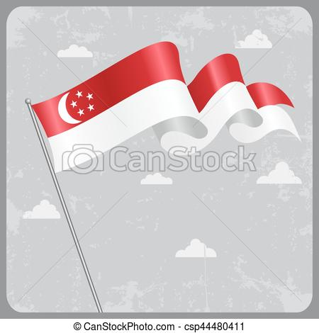 450x470 Singapore Wavy Flag. Vector Illustration. Singapore Flag Wavy