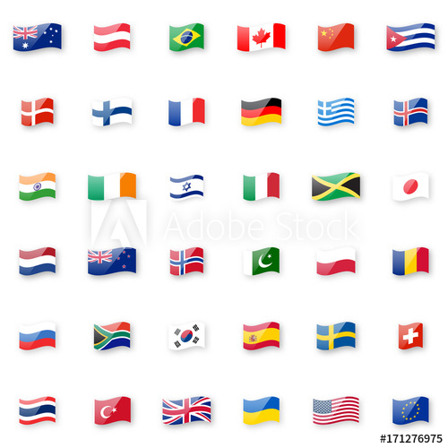 500x500 World Flags Vector Icon Set. Shiny Glossy Small Waving Flag Icons