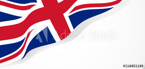 500x239 Union Jack Waving Flag Vector Illustration.
