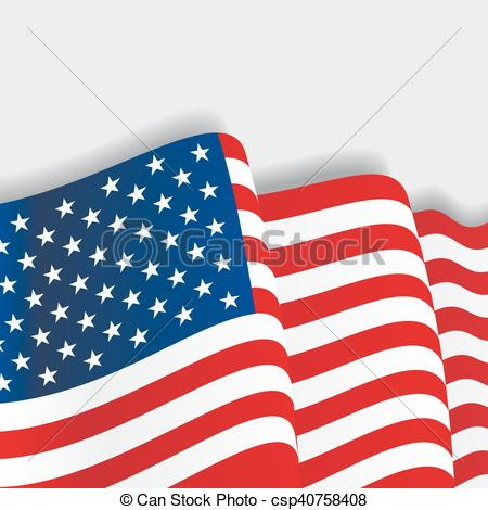 450x470 American Waving Flag. Vector Illustration. American Waving Flag
