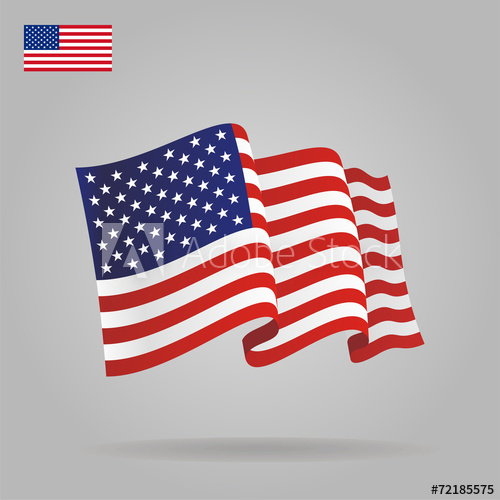 500x500 Flat And Waving American Flag. Vector