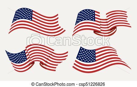 450x286 Flowing Flat American Flag Vector Illustration. Flying Waving Usa
