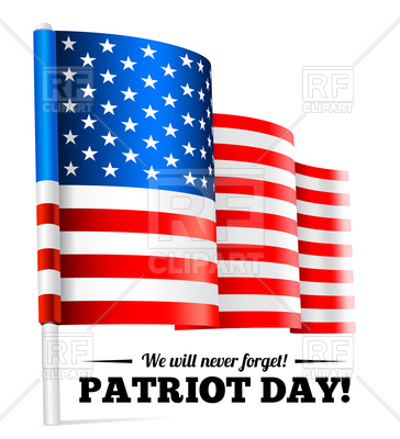364x400 Patriot Day, September 11 Waving Usa Flag Vector Image Vector