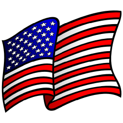 250x250 Waving Us Flag Clipart