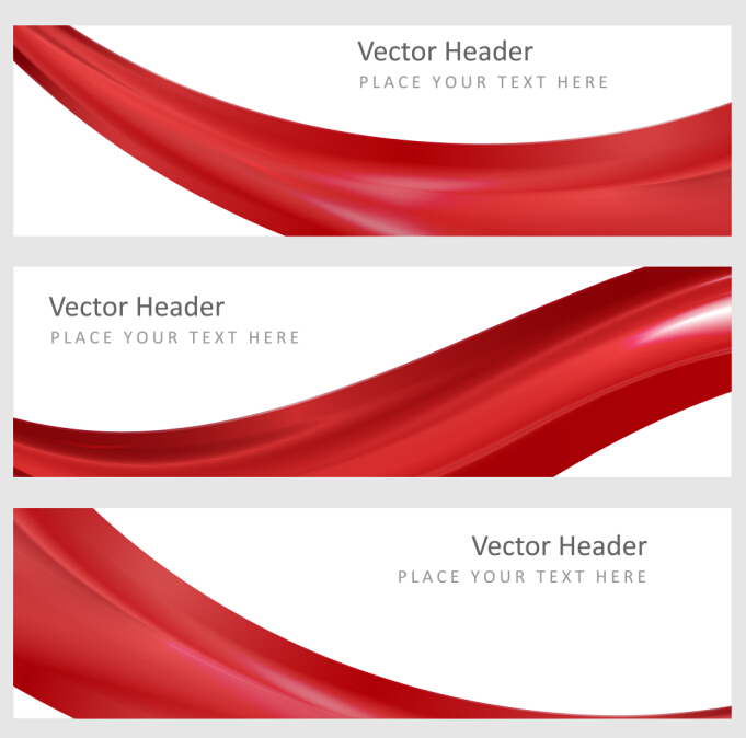681x674 Red Wavy Banners Vector Set 01 Free Download