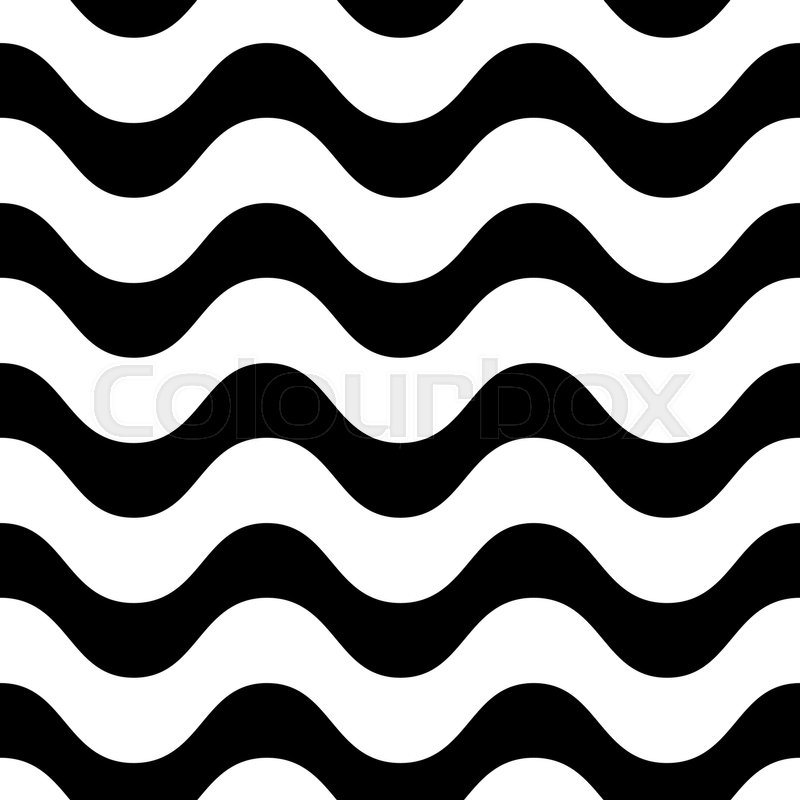 800x800 Horizontal Wavy Lines Vector Seamless Pattern, Black And White