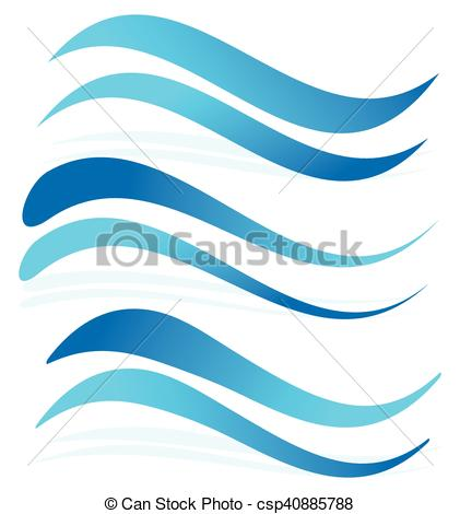 421x470 Wavy Lines As Water Elements. Dynamic Undulating, Billowy Blue Lines.